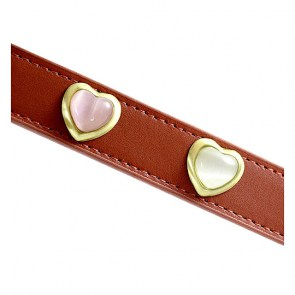 Heart Pink & White Cat Eye On Red Dog Collar_big1
