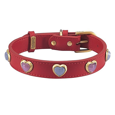 Heart Pink & White Cat Eye On Red Dog Collar_big