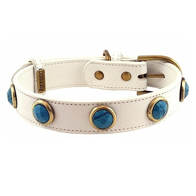 Pebble Faceted Turquoise Dog Collar_big